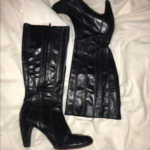 tsubo black leather 9 boots knee